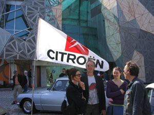 Group of Citroen fans at the 50th anniversary of the DS display at Federation Square